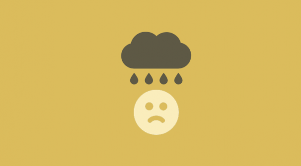 sad face with raincloud overhead