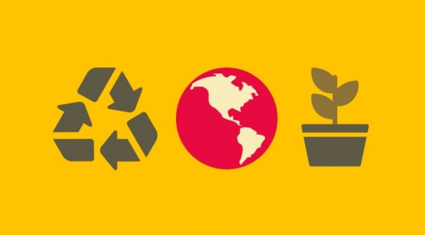 Recycling symbol, world and plant