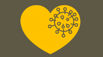 Heart icon overlayed with image of Covid-19 virus structure